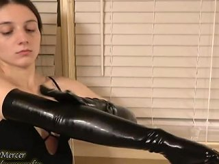 Naughty Masseuse Massages Her Insides With Both Hands In Long Latex Gloves
