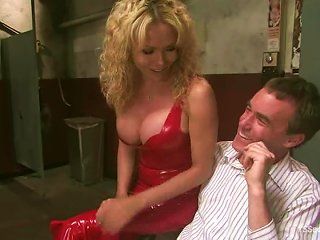 Blonde Tranny Gia Darling Tortures A Man And Makes Him Suck Her Dick